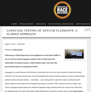 Institute of Race Relations: Language testing of asylum claimants – a flawed approach