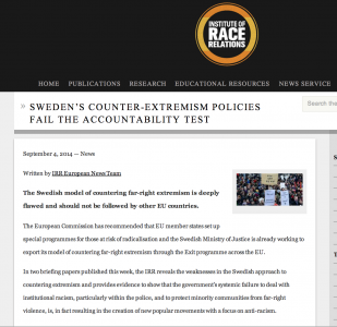 Institute of Race Relations: Sweden's counter-extremism policies fail the accountability test
