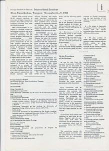 November 6, 1981: Address to the international seminar (on the plight of foreign students in Finland)