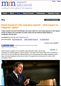 Migrants' Rights Network: David Cameron's EU migration speech – what impact on migrants' rights?