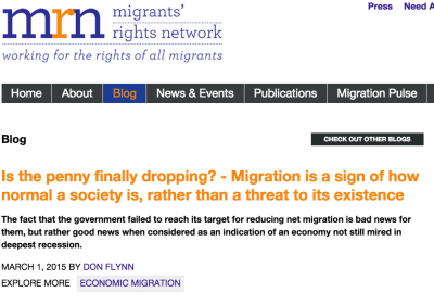 Migrants' Rights Network: Is the penny finally dropping? – Migration is a sign of how normal a society is, rather than a threat to its existence