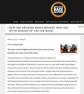 Institute of Race Relations: How the Swedish media bought into the myth-making of the far Right