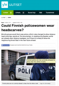 Muslim woman wasn't admitted to the Finnish police training school because she would refuse to take off her headscarf