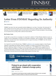 Why is the Finnish foreign ministry so jumpy about Finnbay's coverage of the crisis in the Ukraine?