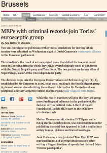 "Financial Times: Finnish and Danish MEPs ""with criminal records"" join Conservative Prime Minister David Cameron's group"