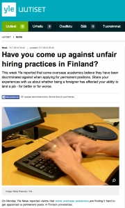 Yle in English asks: Have you come up against unfair hiring practices in Finland?
