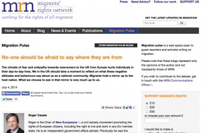 Migrants' Rights Network: No-one should be afraid to say where they are from
