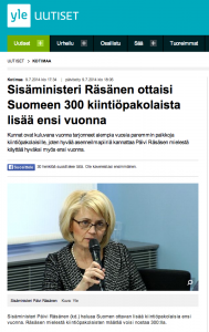 Finland's interior minister wants more quota refugees in 2015
