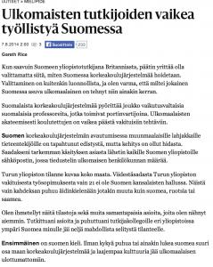 Helsingin Sanomat: Ulkomaisten tutkijoiden vaikea työllistyä Suomessa