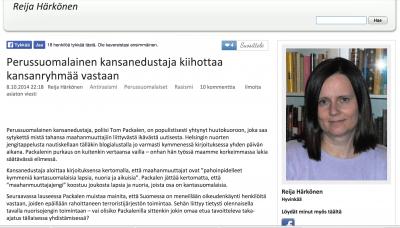 Reija Härkönen: Perussuomalainen kansanedustaja kiihottaa kansanryhmää vastaan