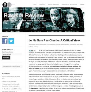 Racism Review: Je Ne Suis Pas Charlie: A Critical View